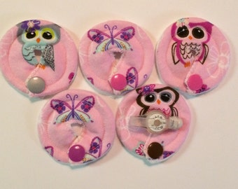 Pink Owls and butterflies , gtube G-tube covers mic-key button Gtube pads , buttons feeding tube G-tube mic-key button feeding tube pads (co