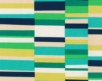 Geo Pop Canvas 2 Rectangles Fabric - Emerald - Sold by the 1/2 Yard
