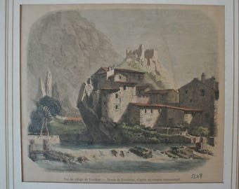 12 # engraving on wood: view of the village of Vaucluse - drawing of the nineteenth century Grandsire / Old french vintage print / Antic wood print