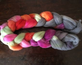 Dyed bfl combed top, bfl roving, blue face Leicester wool