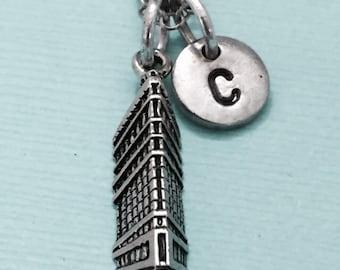 Flat iron building necklace, flat iron building charm, building necklace, personalized necklace, initial necklace, initial charm, monogram