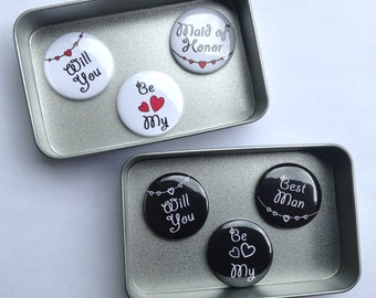 Wedding Will You Be My Bridesmaid Magnet Gift Set Matron Maid of Honor Best Man Usher Flower Girl & Page Boy also available Handmade
