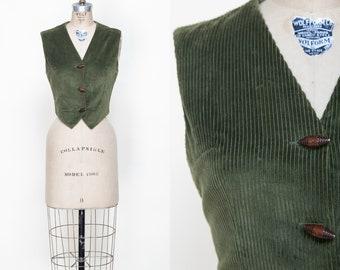 1970s Green Corduroy Vest /// Vintage Sears Vest Medium