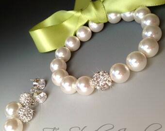 Ribbon Closure Pearl Bridemaids Bow Bracelet- Satin Ribbon in any color