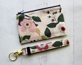 Floral zipper pouch - floral key fob - bag and keychain gift set - gift ideas for bestie - floral key fob wristlet - floral wallet
