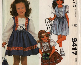 "Uncut Girls' DRESS & BAG PATTERN McCall's #9417 Size 3 Toddler ""Heidi"" Look Gathered Bodice and Lacing Childs' Purse Vintage Sewing"
