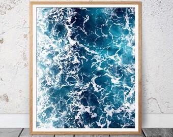 Sea Print, Waves, Ocean Art Print, Ocean, Digital Print, Ocean Photography, Ocean Print, Prints, Coastal Wall Decor, Blue Water, Beach Art