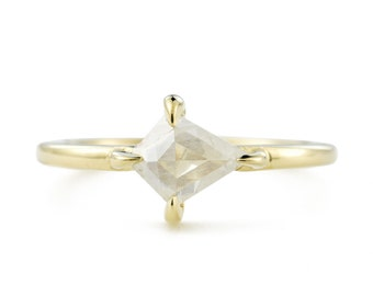 Rose Cut Diamond Ring, 14K Gold Ice Diamond Engagement Ring, taille 5.5 redimensionnement disponible de kite