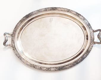 """HUGE Antique Barbour Silver Plate large 22"""" tray Danish Repousse"""