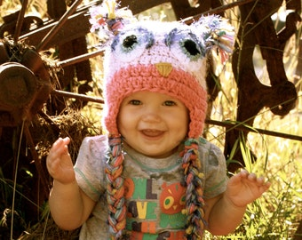 Oh So Cute Owl Hat---Custom made  baby, toddler, child