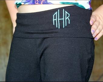 Monogrammed - Kids Girls Yoga Waist - Fold Down Band - Boot Cut Pants