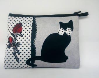 Trousse imprimée motif chat et rose
