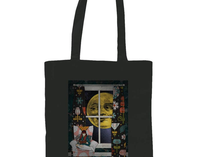 Mildred's Moon. Graphic Tote Bag With Original Illustration. Black.
