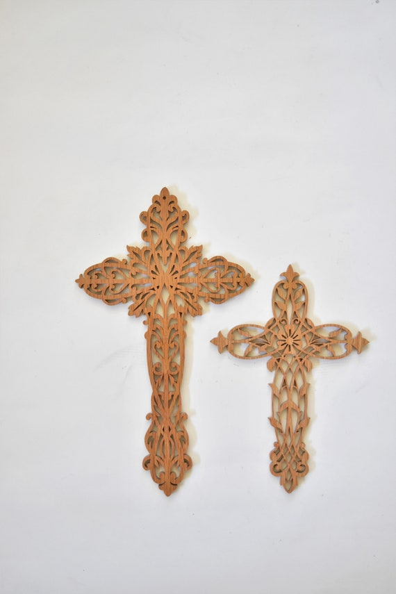 set of 2 carved wood cross wall hanging sculptures / religious christian home decor
