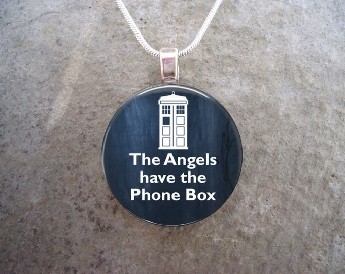 Doctor Who Jewelry - Glass Pendant Necklace - The Angels Have The Phone Box