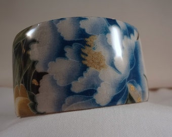 VENTE BRACELET-bleu pivoine large manchette Bracelet(CCB187)