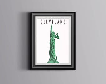 SALE! Cleveland Poster- Fountain of Eternal Life - 11x17 Print