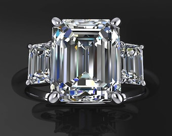 kennedy ring - 3.5 carat emerald cut NEO moissanite engagement ring, 3 stone ring