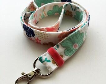 Floral lanyard - Key holder lanyard - teachers lanyard - flower print lanyard - key fob - cute floral lanyard - womens lanyard - floral