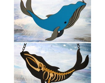 Reversible Whale / Skeleton Statement Necklace - Ocean Collection