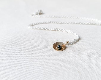 Simple Gold Circle Hammered Mixed Metal Drop Necklace with Black Spinel Gemstone Accent on Sterling Silver Delicate Chain Layering