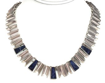 Taxco Silver Necklace Sterling Silver Modernist Necklace Mexico 925 Sodalite Stones Jewelry
