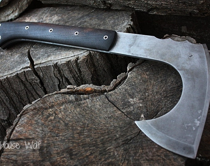 "Handcrafted FOF ""House Wolf"" full tang tactical and survival axe"
