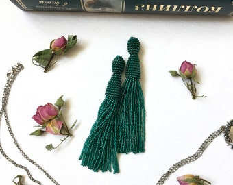 Green tassel earrings Emerald beaded tassel earrings Bridal earrings Fringe earrings Prom earrings Bohemian earrings  Boho earrings