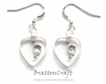 Czech Glass Heart Necklace - Clear Glass Heart Earrings - Valentine Earrings - Heart Earrings - Heart Jewelry