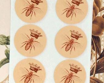 Stickers Queen Bee Vintage Crown Envelope Seals Party Favor Treat Bag Stickers SP045