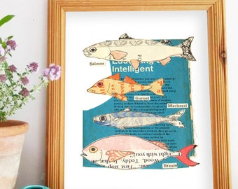 Illustrated Fish Print - Gift for Fisherman, Father's Day Gift, Bathroom Decor, Beach theme decor wall art, Kitchen Wall Art