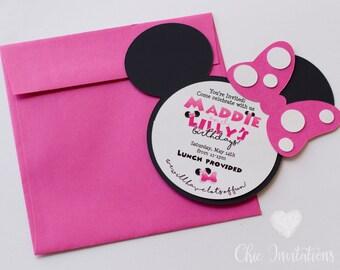 Minnie Mouse Invitation, Pink Minnie, Mouse Invitation