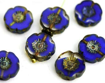 12mm Blue Pansy Flower bead, Mixed Clear and Dark Blue Picasso Daisy czech glass flat bead - 6Pc - 0499