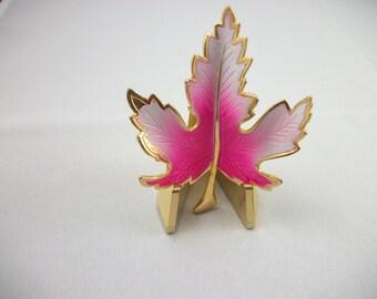 Vintage Varigated Pink and Gold Tone Leaf Brooch