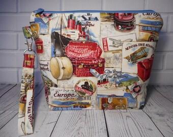 Knitting Project Bag, Crochet Project Bag, Sock Knitting Bag, Zippered Project Bag, Craft Bag, Yarn Project Bag, Travel Tote, Accessory Bag