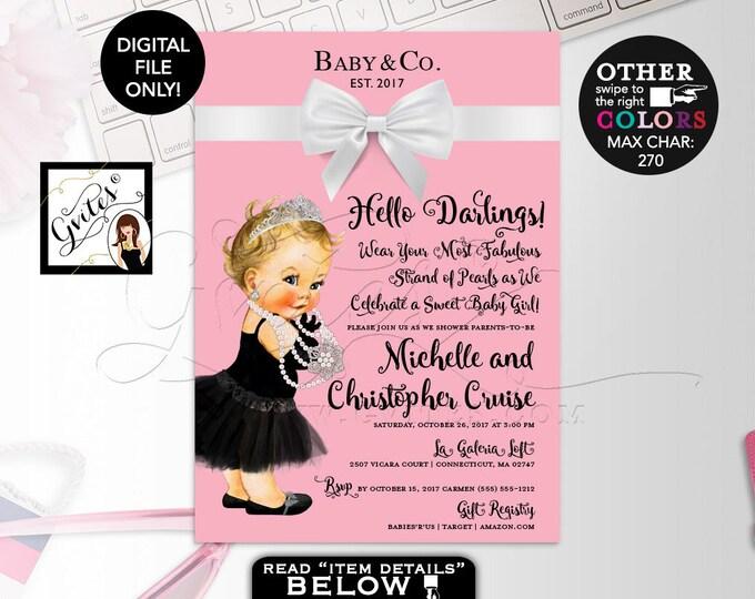 "Baby and Co Pink Baby Shower Invitation, Audrey Hepburn Baby Girl Vintage, Princess Silver Tiara, White Bow, DIY, DIGITAL FILE, 5x7"" Gvites"