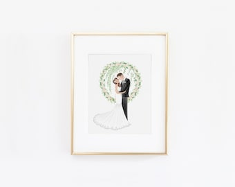 Lovely Wreath Flowers Custom Couple Illustration Wedding Engagement Anniversary Gift Idea