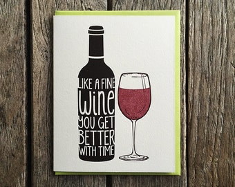 Fine Wine Birthday Letterpress Card