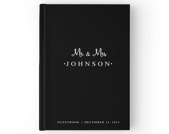 Black Wedding Guest Book, Black Guest Book, Black and White Guest Book Wedding, Simple Wedding Guest Book, Color Choices Available, GB 008