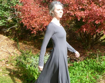 Organic Clothing Maxi Dress Scoop Neck Organic Cotton Bamboo Clothing Simple Organic Dress Winter Dress Outdoor Wedding Fall Made to Order