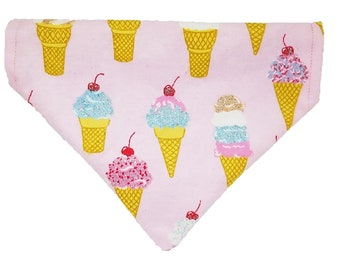 Ultimate Summer reversible dog bandana|Ice Cream Cones|Searsucker|Glitter|Gifts for dogs and dog lovers