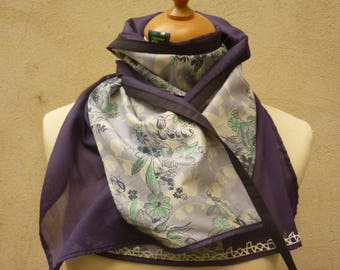 Purple and blue patterned silk & cotton scarf