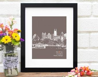 Atlanta City Skyline, Atlanta Georgia skyline, Atlanta Wedding Gift, Bridal Shower, Wedding Sign, Engagement First Anniversary, Gift for Her