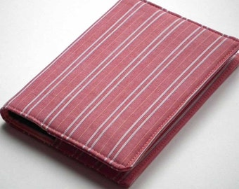 A6 Notebook Cover, Fabric Book Cover, Planner Cover, Diary Cover, Removable Slip-Cover, Red Striped Cotton, Free UK Shipping, UK Seller