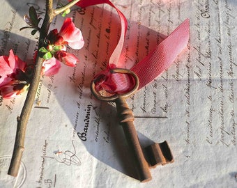 Old french rusty key with an old red silk ribbon.