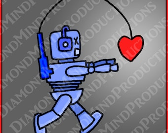 Digital Print, Graphic Design, Robot, Heart