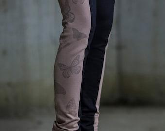 Beige Black Butterfly Leggings   Long Beige & Black Leggings   Long Tight Pants   Casual Beige Pants   Long Slim Pants by Silvia Monetti