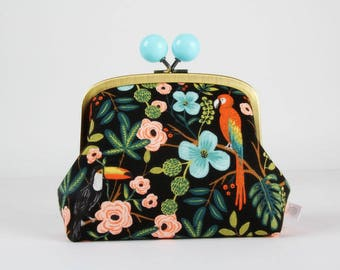 Metal frame clutch bag - Paradise garden - Color bobble purse / Japanese fabric / Cotton and steel / Rifle paper Co. Menagerie