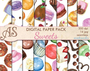 Digital Watercolor Sweets Seamless Paper Pack, 16 printable Digital Scrapbooking papers, dessert Digital Collage, Instant Download, set 366