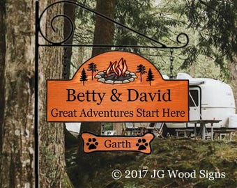 RV Camping Sign  - Custom Wood Sign - w Sign Holder Option - RV outdoor sign - JGWood Signs - Etsy BettyDavid